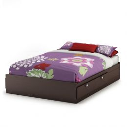 Full size Modern Platform Bed with 4 Storage Drawers in Chocolate