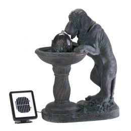 Outdoor Curious Dog Solar Powered Fountain / Garden Statue