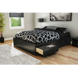 Full size Modern Platform Bed with 3 Storage Drawers in Black