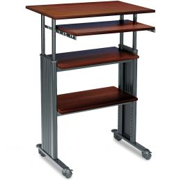 Adjustable Height Stand Up Computer Desk Workstation in Cherry