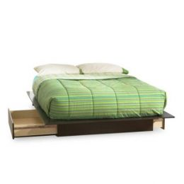 Full Size Modern Platform Bed with 2 Storage Drawers in Chocolate