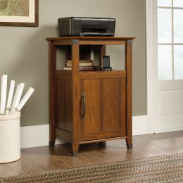 Cherry Finish Printer Stand w/ Open Shelf & Cabinet Adjustable Shelf