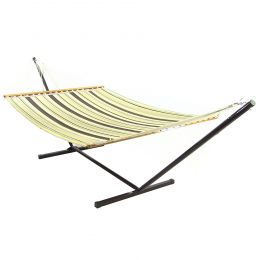Sunnydaze Sandy Beach Double Fabric Hammock w/ Spreader Bar and Stand Combo