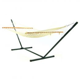 Sunnydaze 11ft Cotton Rope Hammock & Stand Combo