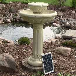 Sunnydaze Chelsea Solar on Demand Two Tiered Birdbath Fountain