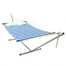 Sunnydaze Royal Blue Quilted Double Fabric Hammock w/ Spreader Bar, Pillow and Stand Combo