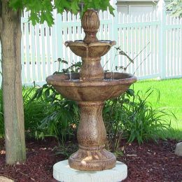 Sunnydaze Two Tier Solar On Demand Fountain - Rust
