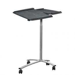 Adjustable Laptop Computer Cart Desk Stand in Steel with Espresso Top