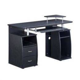 Modern Computer Desk with Storage Drawers in Espresso Finish
