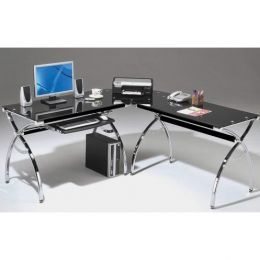 L-Shaped Corner Computer Desk with Chrome Frame & Black Glass Top