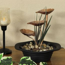 Sunnydaze Three Leaf Cascading Tabletop Fountain with LED Lights