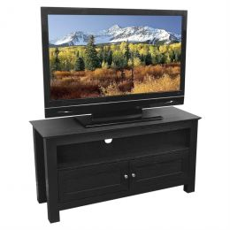 44-inch Flat Screen TV Stand in Black Wood Grain Finish