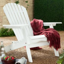 Folding Adirondack Chair in White Wood Finish