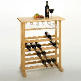 Basics 24 Bottle Wine Rack w/ Glass Holder