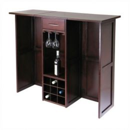 Newport Wine Bar with Expandable Counter in Walnut Finish