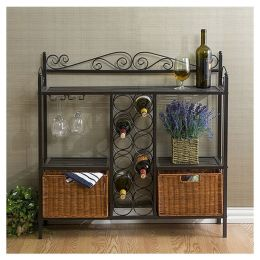 Gun Metal Grey Scrolling Dining Sideboard Server with Wine Rack