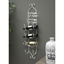 Modern White Metal Wall Mounted Wine Rack