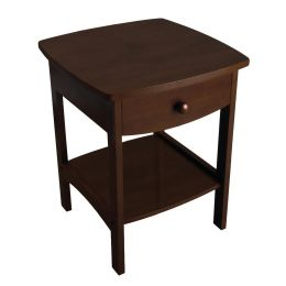 Walnut Finish Accent Table Nightstand with One Drawer