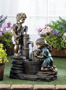 Whimsical Children and Dog Garden Fountain